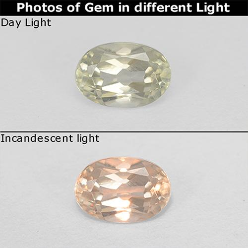 Green to Pink Color-Change Diaspore Gem - 0.6ct Oval Facet (ID: 511252)