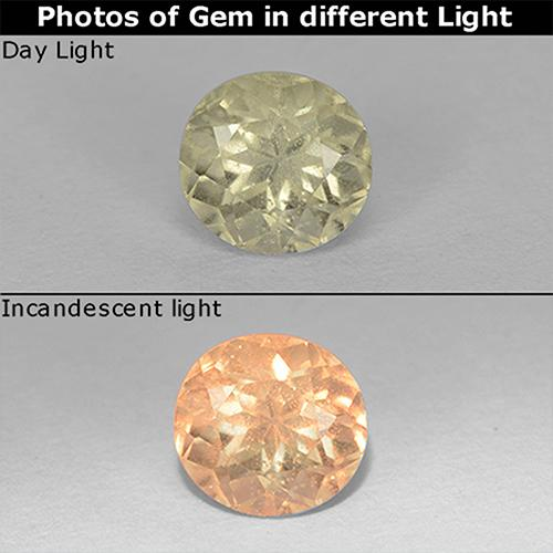 Light Yellow Color-Change Diaspore Gem - 0.8ct Round Facet (ID: 511253)