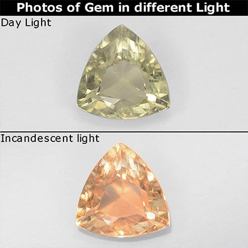 Light Yellow Color-Change Diaspore Gem - 0.7ct Trillion Facet (ID: 511707)