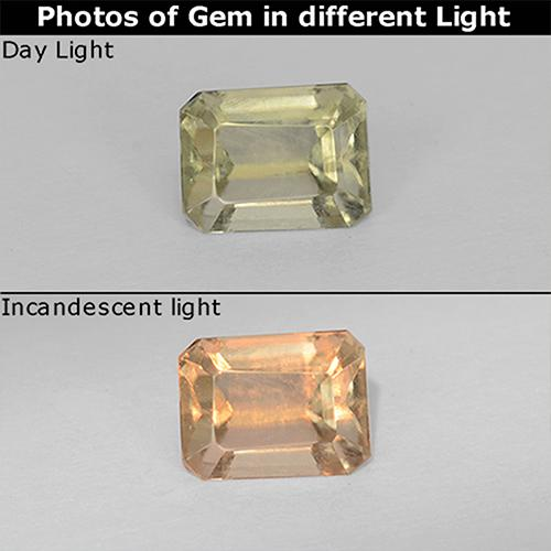 Light Yellow Color-Change Diaspore Gem - 0.8ct Octagon Step Cut (ID: 511711)