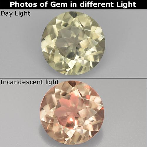 Very Light Yellow Color-Change Diaspore Gem - 0.8ct Round Facet (ID: 511807)