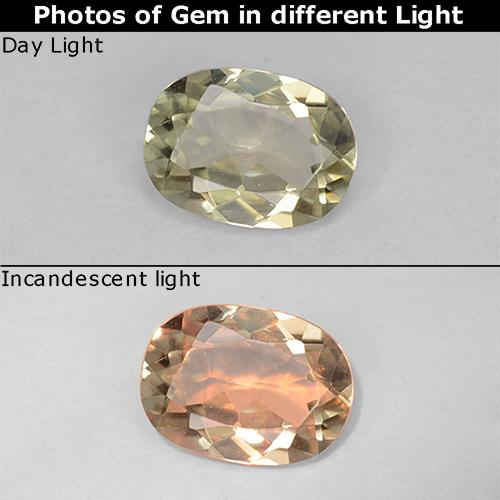 Green to Pink Color-Change Diaspore Gem - 0.7ct Oval Facet (ID: 511809)