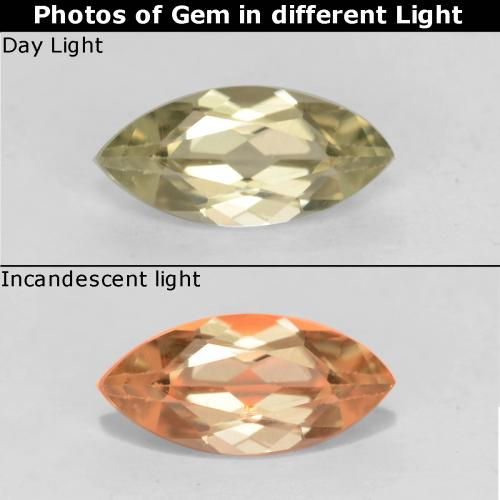 Very Light Yellow Diásporo con Cambio de Color Gema - 0.5ct Forma marquesa (ID: 542613)