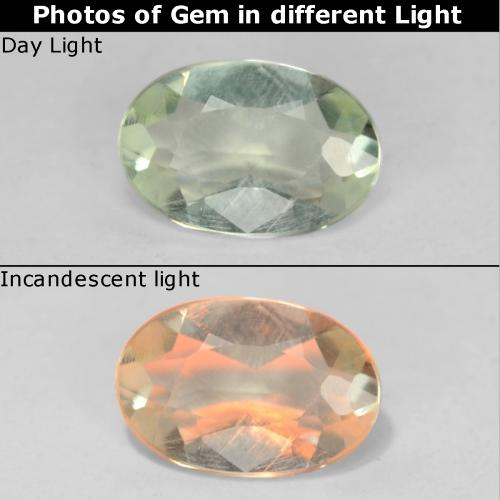 Very Light Yellow Color-Change Diaspore Gem - 0.5ct Oval Facet (ID: 542760)