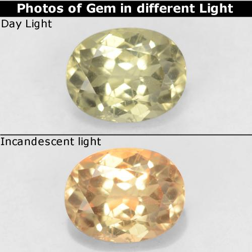 Light Yellow Color-Change Diaspore Gem - 0.8ct Oval Facet (ID: 542762)