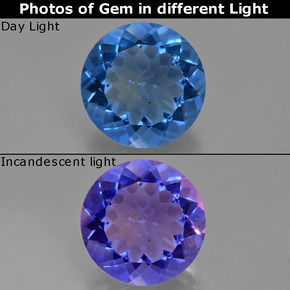 Violet to Blue Color-Change Fluorite Gem - 10.5ct Round Facet (ID: 413676)