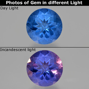 15.3ct Round Facet Dark Blue Color-Change Fluorite Gem (ID: 413685)