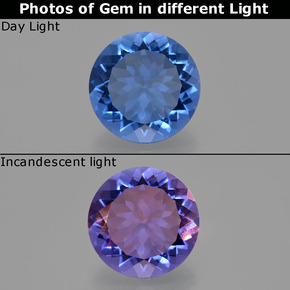 Violet to Blue Color-Change Fluorite Gem - 11.7ct Round Facet (ID: 413688)