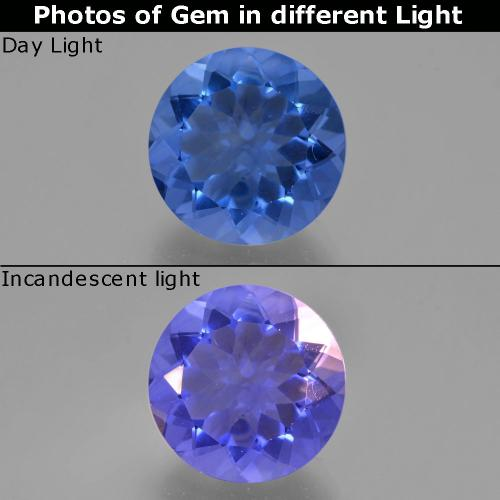 Deep Blue Color-Change Fluorite Gem - 10.9ct Round Facet (ID: 413698)