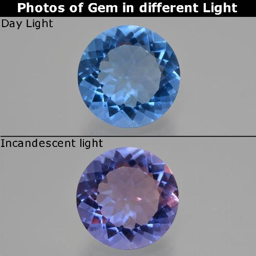 13ct Round Facet Egyptian Blue Color-Change Fluorite Gem (ID: 413711)