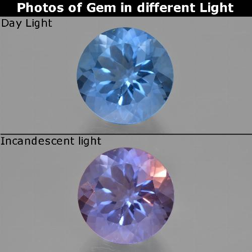 Violet to Blue Color-Change Fluorite Gem - 11.5ct Round Facet (ID: 413715)