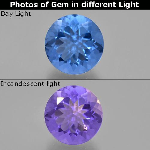 Violet to Blue Color-Change Fluorite Gem - 11.8ct Round Facet (ID: 413733)
