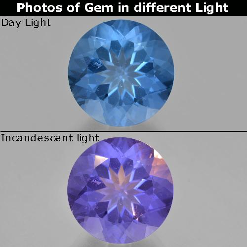 14ct Round Facet Bright Blue Color-Change Fluorite Gem (ID: 413736)