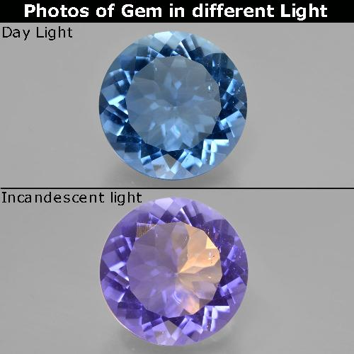 Violet to Blue Color-Change Fluorite Gem - 12.3ct Round Facet (ID: 413737)
