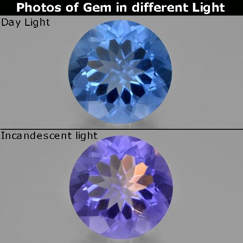 14.1ct Round Facet Intense Navy Blue Color-Change Fluorite Gem (ID: 413739)