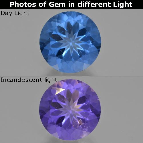 Violet to Blue Color-Change Fluorite Gem - 14.2ct Round Facet (ID: 413740)