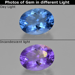 Violet to Blue Color-Change Fluorite Gem - 21.3ct Oval Facet (ID: 413809)