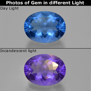 22.67 ct Oval Facet Violet to Blue Color-Change Fluorite Gemstone 20.13 mm x 15.3 mm (Product ID: 413812)