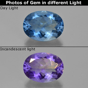 Violet to Blue Color-Change Fluorite Gem - 21.4ct Oval Facet (ID: 413813)