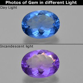 Egyptian Blue Color-Change Fluorite Gem - 20ct Oval Facet (ID: 413814)