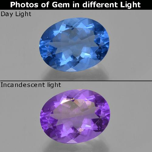 Medium Blue Color-Change Fluorite Gem - 21.5ct Oval Facet (ID: 413816)