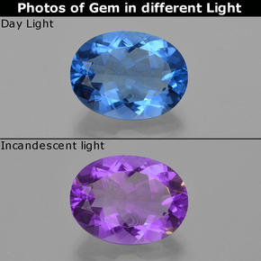 Bright Blue Color-Change Fluorite Gem - 19.8ct Oval Facet (ID: 413901)