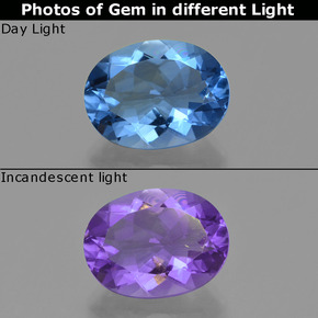 Violet to Blue Color-Change Fluorite Gem - 20.6ct Oval Facet (ID: 413902)