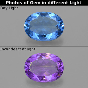 19.07 ct 椭圆形切面 Medium Blue 变色萤石 Gem 20.21 mm x 15.2 mm (Photo A)