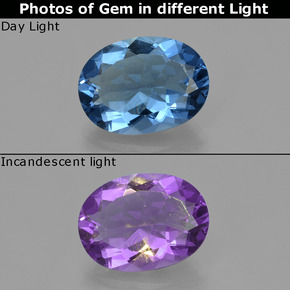 Violet to Blue Color-Change Fluorite Gem - 17.9ct Oval Facet (ID: 413908)