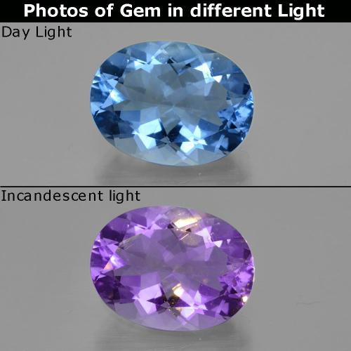 Navy Blue Color-Change Fluorite Gem - 20.9ct Oval Facet (ID: 413910)