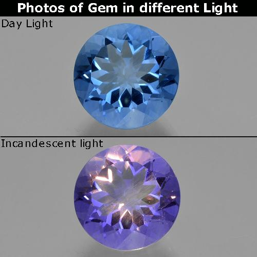 Violet to Blue Color-Change Fluorite Gem - 13.8ct Round Facet (ID: 414406)