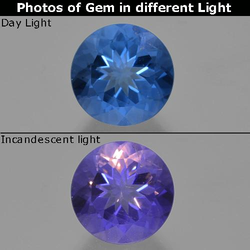 14.5ct Round Facet Intense Navy Blue Color-Change Fluorite Gem (ID: 414408)