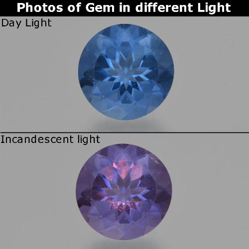 Violet to Blue Color-Change Fluorite Gem - 11.2ct Round Facet (ID: 414621)