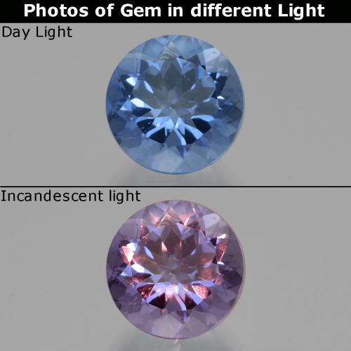 Deep Blue Color-Change Fluorite Gem - 11.1ct Round Facet (ID: 414623)