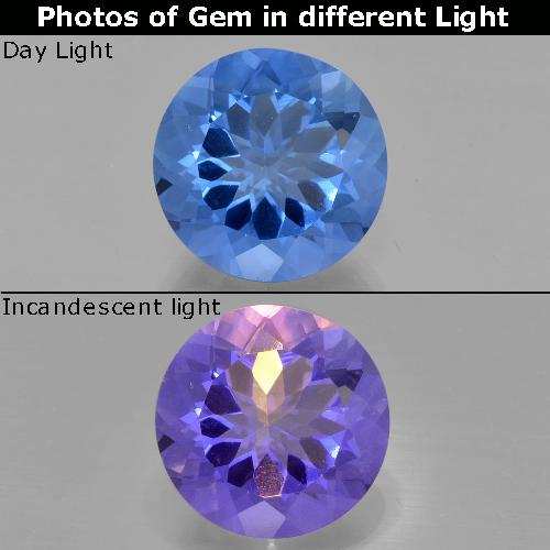 13.5ct Round Facet Dark Blue Color-Change Fluorite Gem (ID: 414723)