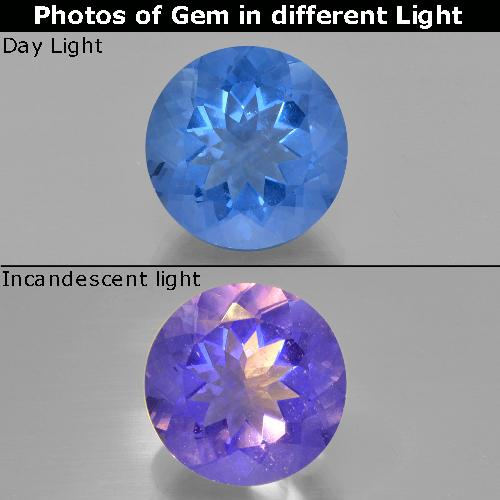 Egyptian Blue Color-Change Fluorite Gem - 14ct Round Facet (ID: 414725)