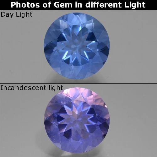 Violet to Blue Color-Change Fluorite Gem - 11.6ct Round Facet (ID: 445132)
