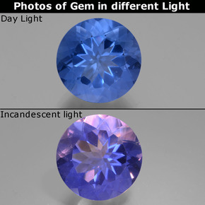 Violet to Blue Color-Change Fluorite Gem - 11.3ct Round Facet (ID: 445136)