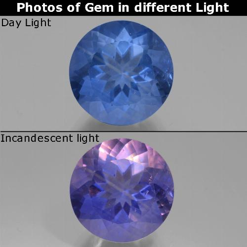 Violet to Blue Color-Change Fluorite Gem - 12.2ct Round Facet (ID: 445138)