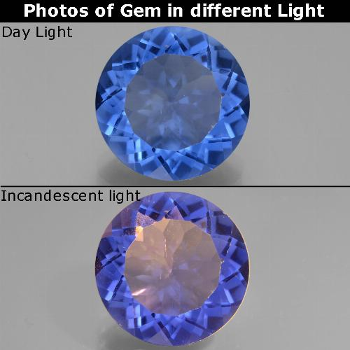 Violet to Blue Color-Change Fluorite Gem - 12.3ct Round Facet (ID: 445139)