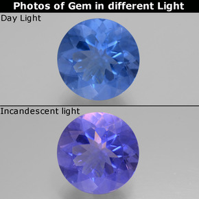 Violet to Blue Color-Change Fluorite Gem - 11.5ct Round Facet (ID: 445413)