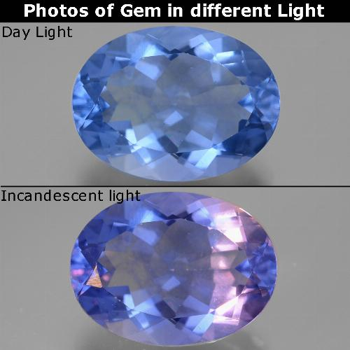 Violet to Blue Color-Change Fluorite Gem - 20.6ct Oval Facet (ID: 445418)