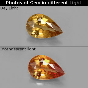 Buy 1.37 ct Golden Brown to Orange Color-Change Garnet 8.77 mm x 5.8 mm from GemSelect (Product ID: 188999)