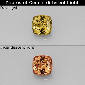 Buy 0.83 ct Golden Brown to Orange Color-Change Garnet 5.09 mm x 5.1 mm from GemSelect (Product ID: 242072)