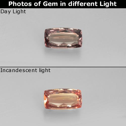 Brownish Rose to Red Color-Change Garnet Gem - 0.8ct Cushion-Cut (ID: 327771)