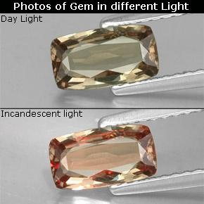Greenish Brown to Orange Color-Change Garnet Gem - 0.9ct Cushion-Cut (ID: 329374)