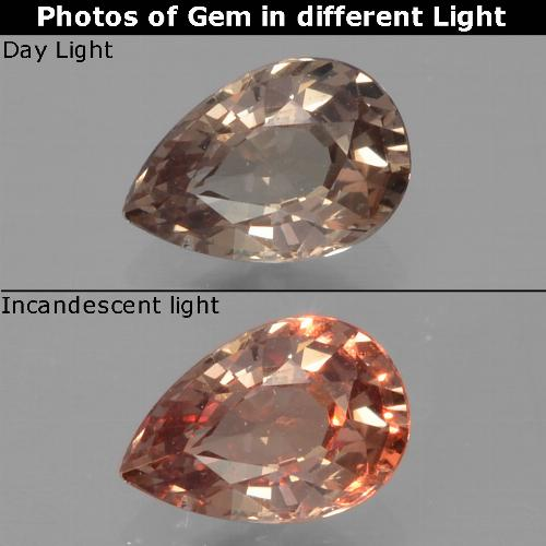 Golden Brown to Orange Color-Change Garnet Gem - 0.5ct Pear Facet (ID: 329589)