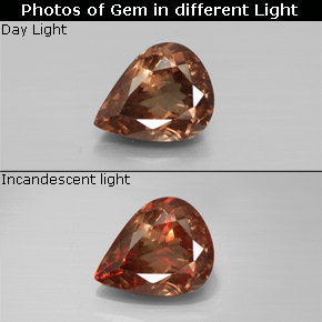 Golden Brown to Orange Color-Change Garnet Gem - 2.4ct Pear Facet (ID: 344766)