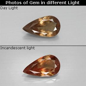 Golden Brown to Orange Color-Change Garnet Gem - 1.8ct Pear Facet (ID: 344767)