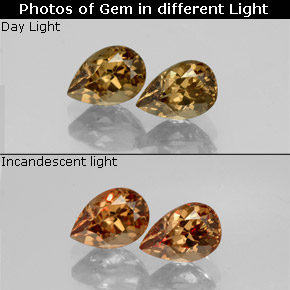 Golden Brown to Orange Color-Change Garnet Gem - 0.7ct Pear Facet (ID: 345793)